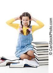 girl, problèmes, avoir, adolescent, education