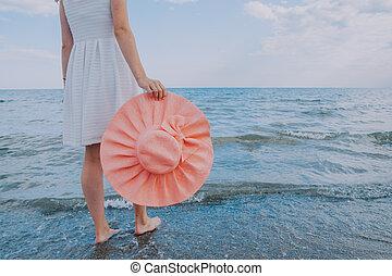 girl, promenades, chapeau plage, long