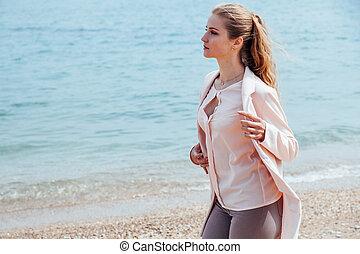 girl, promenades, plage, côte, long, blond