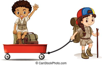 Girl pulling cart with boy sitting on it