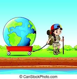 Girl pulling globe in red wagon