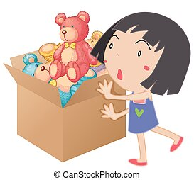 Girl pushing box full of teddy bears