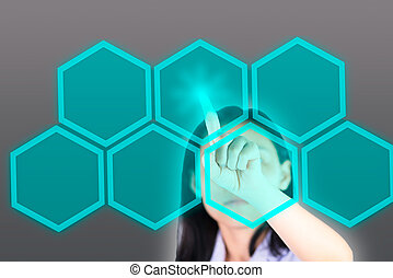 Girl pushing button with technology background