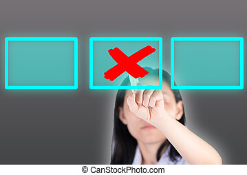Girl pushing cross symbol button with technology background