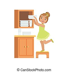 Girl Putting The Plates In Cupboard