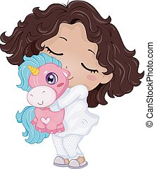 girl, pyjama, gosse, jouet, licorne