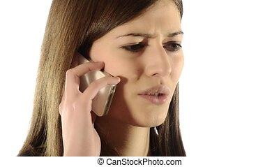 girl quarreling on the telephone