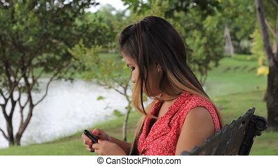 girl, réponses, téléphone portable, asiatique