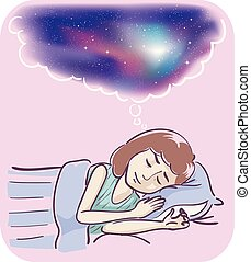 girl, rêves, vif, illustration
