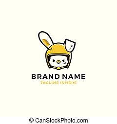 girl rabbit hare with rider helmet logo template vector illustration