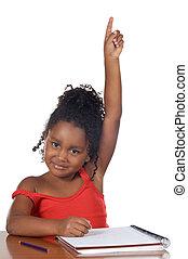 girl raising hand