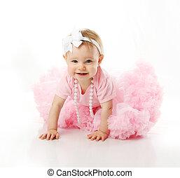 girl, ramper, bébé, pettiskirt, porter, perles, tutu