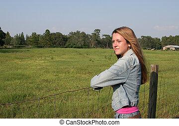 girl, ranch
