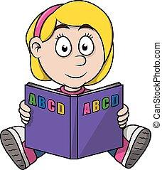 Girl read a book cartoon