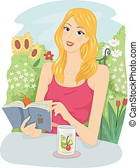 Girl Read Book Garden Drink - Illustration of a Girl Reading...
