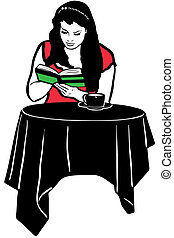 girl reading a book at the table drinking coffee