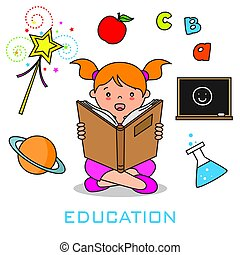 Girl reading a book. Education icons