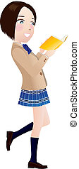 Girl reading a book - This is a picture of a girl reading a...