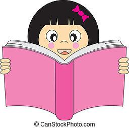 girl reading a book - Happy girl reading a book. Editable...