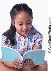 girl reading a book isolated white