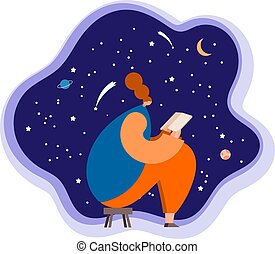 Girl reading a book on a background of the starry sky. Vector illustration