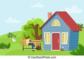 Girl reading a book on a bench near the village cottage. Flat vector illustration. Countryside landscape.
