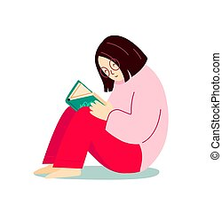 Girl reading a book sitting on the floor. Cartoon character.