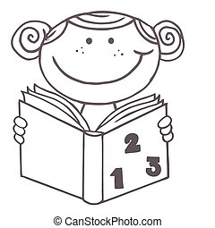 Girl Reading A Math Book - Coloring Page Outline Of A School...
