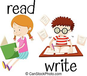 Girl reading and boy writing