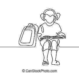 Girl reading book. Back to school concept. Continuous line...