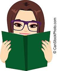 Girl Reading Book - Beautiful brunette girl enjoying reading...