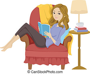 Girl Reading Book - Illustration of a Girl Reading a Book...