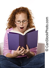 Girl reading book looking surprised.