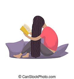 Girl reading book on a white background