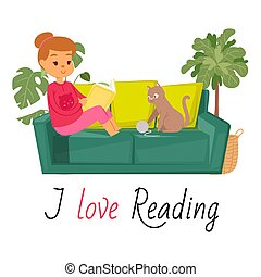 Girl reading book on sofa and cat home pet vector illustration. Kitten plays with threads ball and caucasian girl reads book in home interior. I love reading quote.