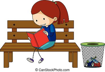 Girl reading book on the bench