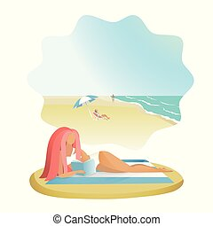 Girl reading book on the sea beach