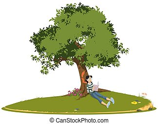 Girl reading book under tree.