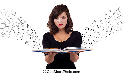 Girl reading book with letters flying