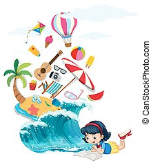Girl reading book with summer theme