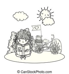 girl reading book with sun kawaii and bicycle in the camp