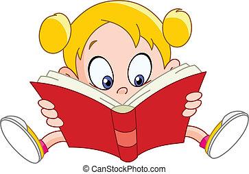 Girl reading book - Young girl reading a book