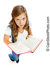 Girl reading - Cute girl holding open book and looking at...