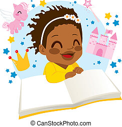 Girl Reading Fairy Tale Book - Little African American girl...