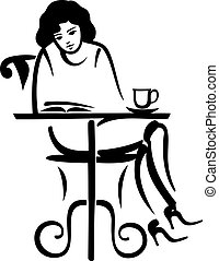 girl reading in a cafe