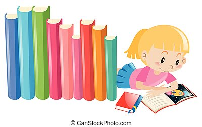 Girl reading storybook alone