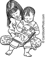 Girl Reading to a Baby