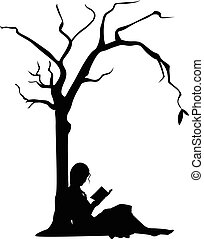 Girl Reading under a Tree