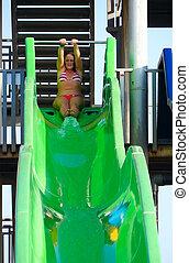 Girl ready to slide