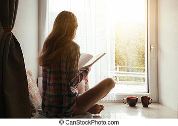girl, rebord fenêtre